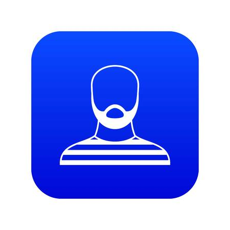 Bearded man in prison garb icon digital blue for any design isolated on white vector illustration Illustration