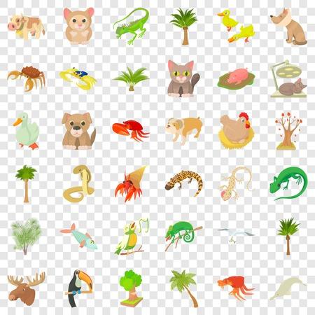 Sand animal icons set, cartoon style Illustration