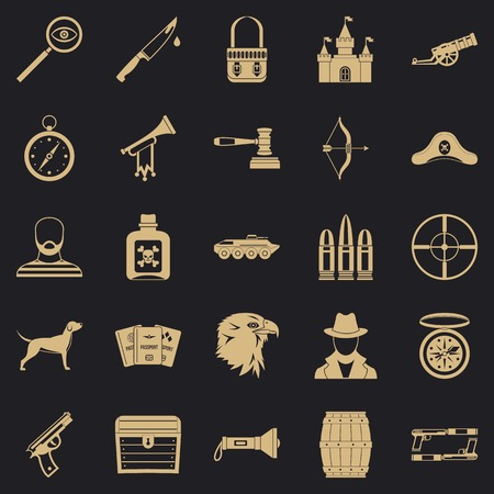 Handgun icons set, simple style