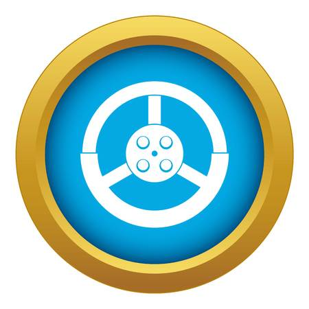 Steering wheel icon blue vector isolated