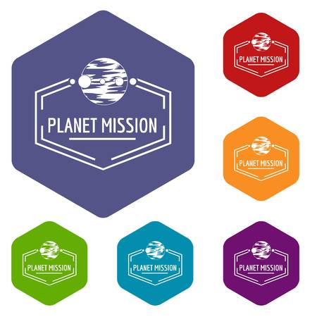 Planet mission icons vector hexahedron Vectores