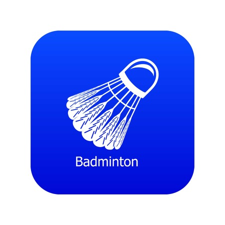 Badminton icon blue vector isolated on white background
