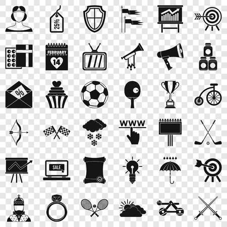 Arrow and bow icons set, simple style Banque d'images - 123333171