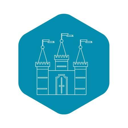 Castle icon, outline style Foto de archivo - 123335040