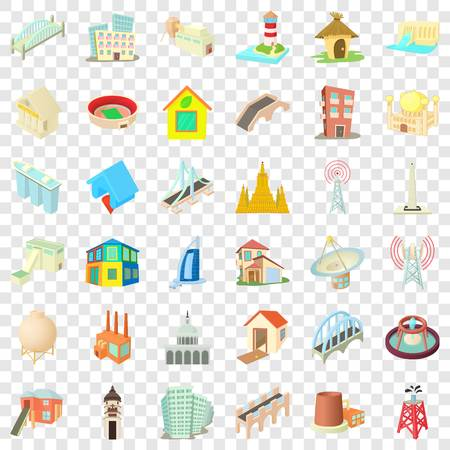 City building icons set, cartoon style Foto de archivo - 123335054