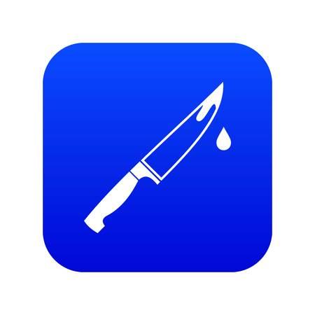 Steel knife icon digital blue