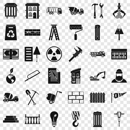 Building hammer icons set, simple style Stock Illustratie
