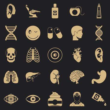 Medical student icons set. Simple set of 25 medical student vector icons for web for any design