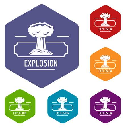 Smoke explosion icons vector hexahedron