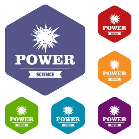 Power icons vector hexahedron