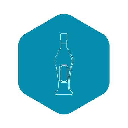 Alcohol bottle icon, outline style Иллюстрация