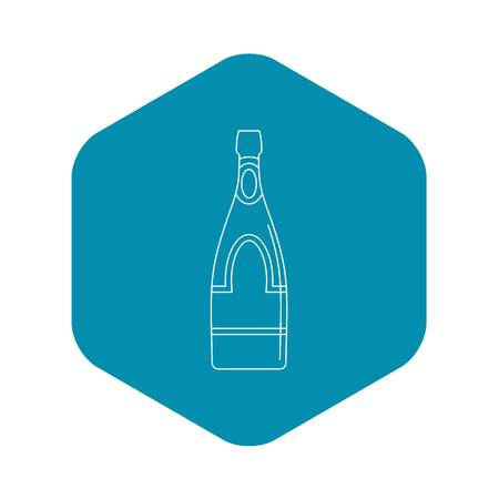 Champagne bottle icon, outline style