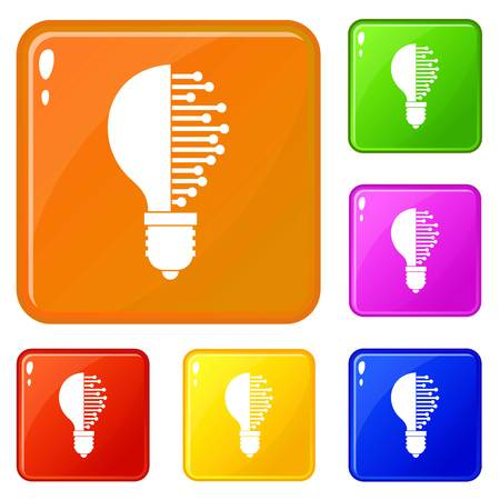 Lightbulb with microcircuit icons set collection vector 6 color isolated on white background