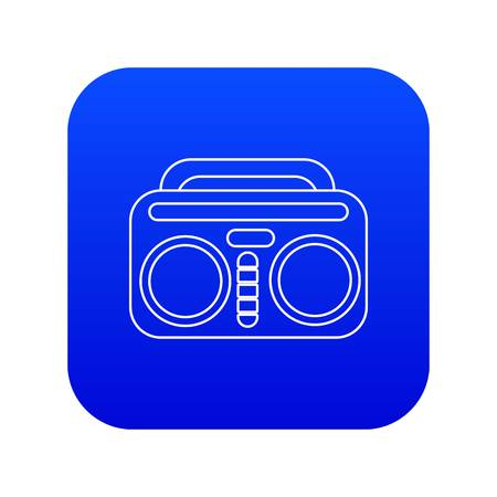 Vintage boombox icon blue vector