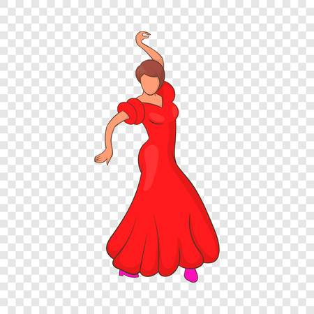 Flamenco dancer icon, cartoon style
