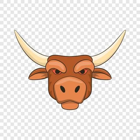Head of bull icon, cartoon style