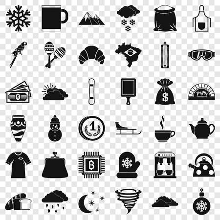Hot coffee icons set, simple style