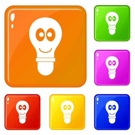 Smiling light bulb with eyes icons set collection vector 6 color isolated on white background  イラスト・ベクター素材