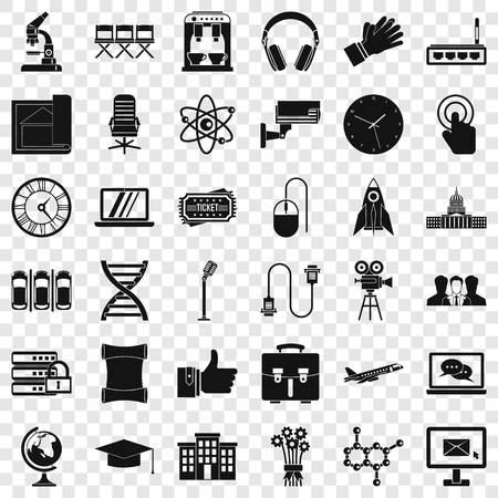 Seminar icons set, simple style