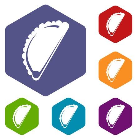 Cheburek icons vector hexahedron Illustration