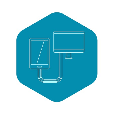 Connection phone icon, outline style