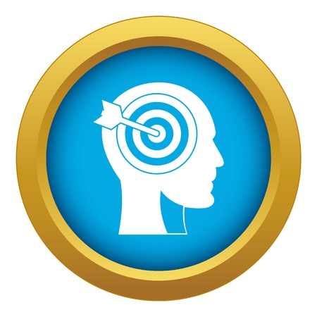 Target in human head icon blue vector isolated on white background for any design