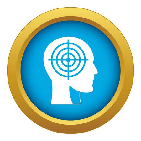 Crosshair in human head icon blue vector isolated on white background for any design