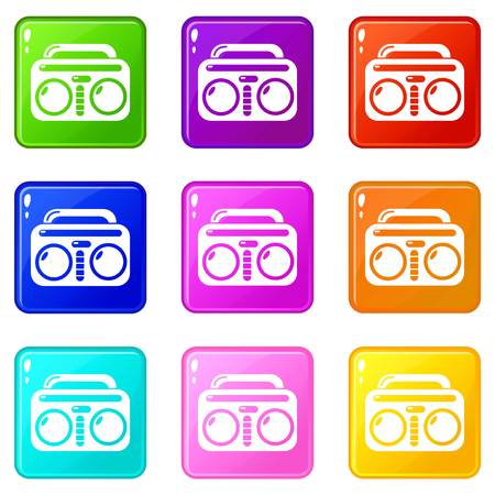 Vintage boombox icons set 9 color collection isolated on white for any design Illustration