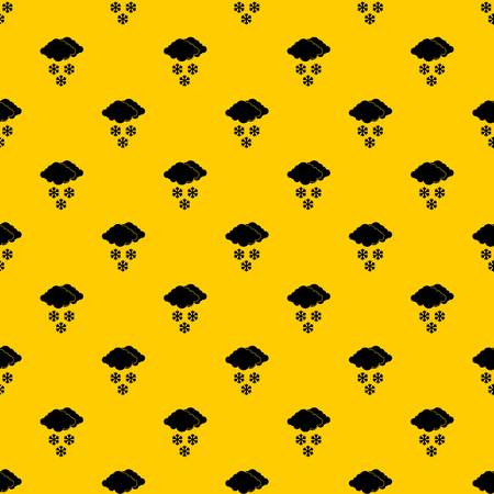 Cloud and snowflakes pattern seamless vector repeat geometric yellow for any design Illustration