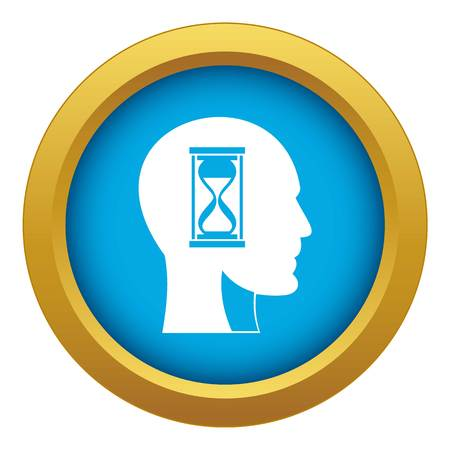 Hourglass in head icon blue vector isolated on white background for any design Vektoros illusztráció