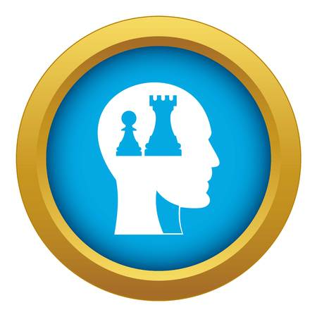Head with queen and pawn chess icon blue vector isolated on white background for any design