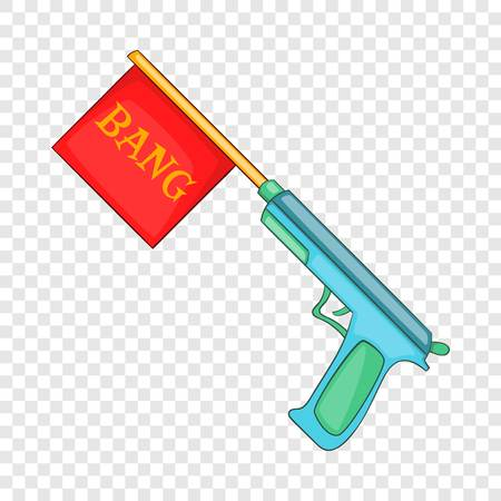 Pistol with bang flag icon, cartoon style Illustration