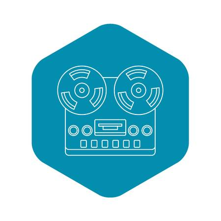 Analog stereo open reel tape deck recorder icon. Outline illustration of analog stereo open reel tape deck recorder vector icon for web Ilustração