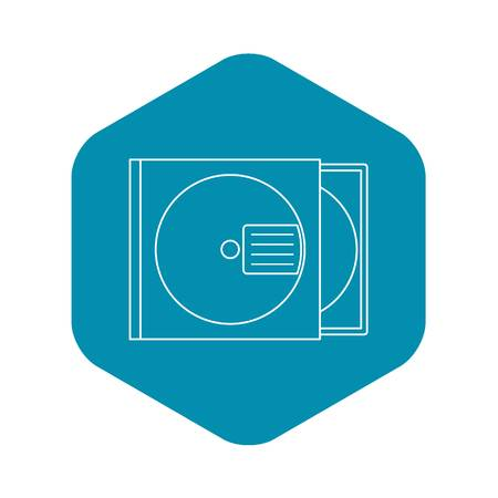 CD box icon. Outline illustration of CD box vector icon for web