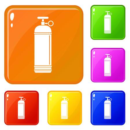 Compressed gas container icons set collection vector 6 color isolated on white background Illustration