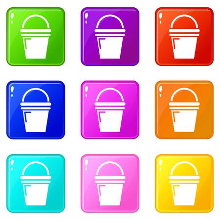 Water bucket icons set 9 color collection isolated on white for any design
