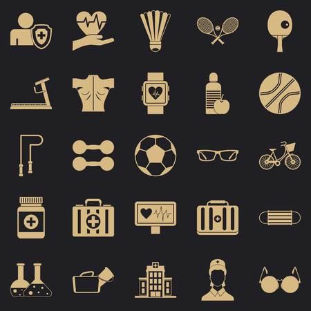 Medic icons set, simple style Иллюстрация