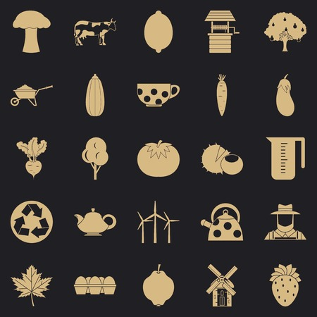 Grown food icons set, simple style