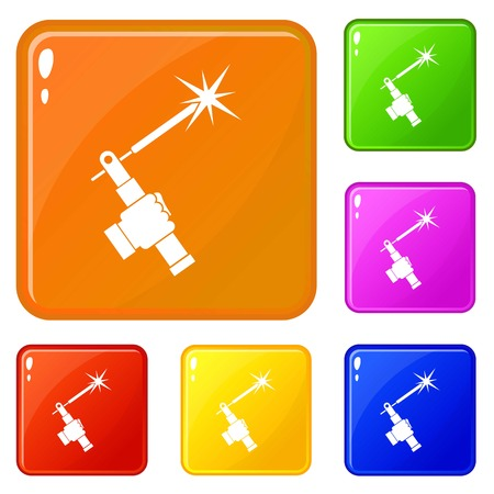 Mig welding torch in hand icons set vector color