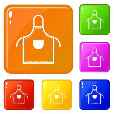 Welding apron icons set collection vector 6 color isolated on white background