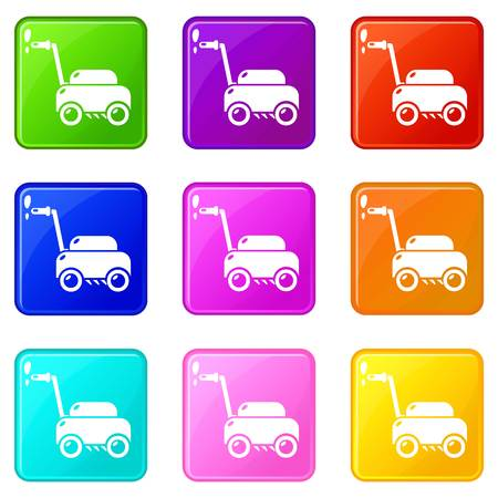 Lawn mower machine icons set 9 color collection isolated on white for any design