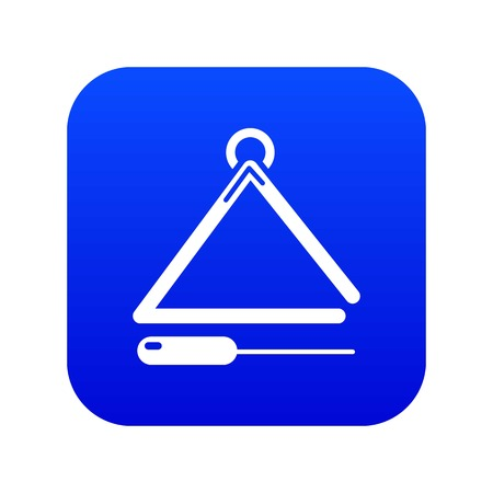 Musical triangle icon blue vector
