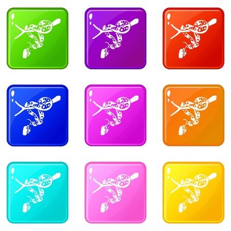 Ball python icons set 9 color collection 向量圖像