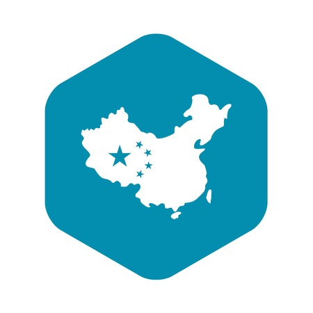 Map of China icon. Simple illustration of map of China vector icon for web Illustration