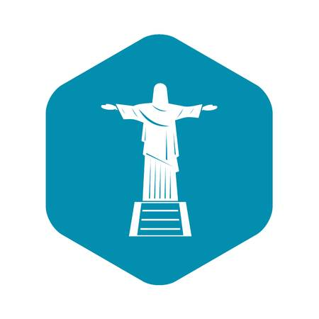 The Christ the Redeemer statue icon, simple style Vetores