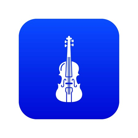 Violine icon blue vector isolated on white background