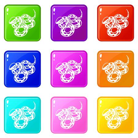 Texas snake icons set 9 color collection Illustration