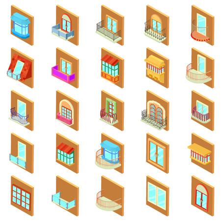 Window icons set, isometric style
