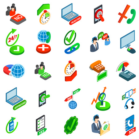 Consent icons set. Isometric set of 25 consent vector icons for web isolated on white background Illustration