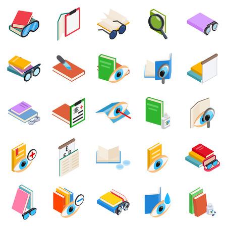 Visually impaired icons set. Isometric set of 25 visually impaired vector icons for web isolated on white background